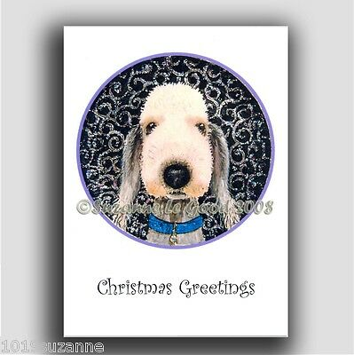 New Design Glittery Bedlington Terrier Dog Christmas Cards By Suzanne Le Good