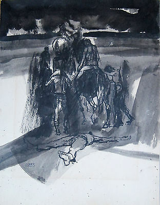 JULES SHER, untitled original oil on card