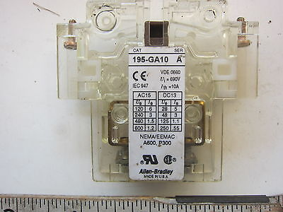 AB Allen Bradley 195-GA10 Auxiliary Relay Contact, Used
