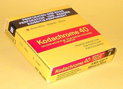 Kodachrome 40 - vintage unexposed 16mm movie film - 100ft - Perforated One Edge