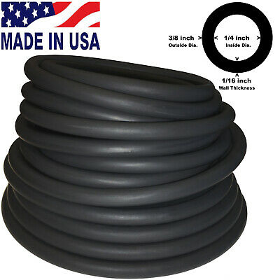 20FT CONTINUOUS 3/8in(10mm)OD 1/4in(6mm)ID Latex Rubber Tubing BLACK Made in USA