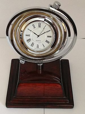Spirex, Silver And High Gloss Wood Finished Clock, Engraved Free, New In Box,