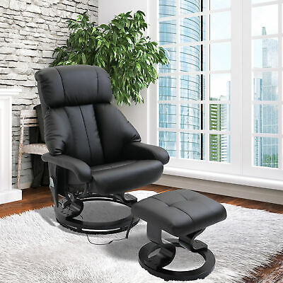 Black Electric Massage Sofa Chair Reclining Lounge Heating Leather Artificial