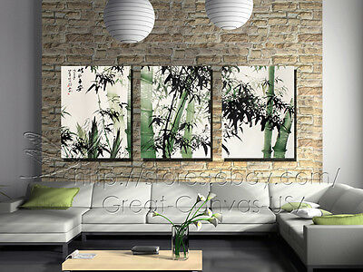 Chinese Painting Bamboos Modern Decor Wall Clock On Canvas Print Set Of 3