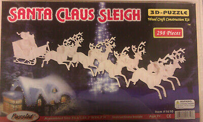 3D Santa Claus Sleigh Wood Puzzle - 298 pieces 24 x 5 x 5 inches - Unopened