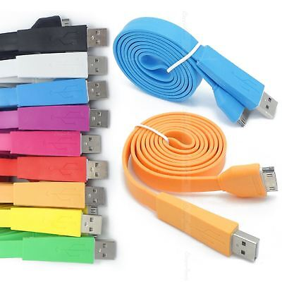 1M 2M 3M FLAT NOODLE MICRO USB DATA CHARGER SYNC CABLE FOR HTC ONE /& ONE S V X