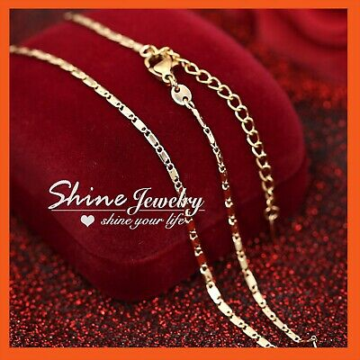 18K Rose Gold Gf N94 Figaro Chain Ring Link Mens Lady Solid Gift Necklace 50Cm