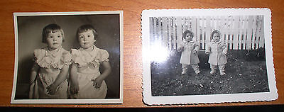 2 Vintage Photographs Photos 1940's Twins Girls Judy And Jean 1 & 2 Years Old