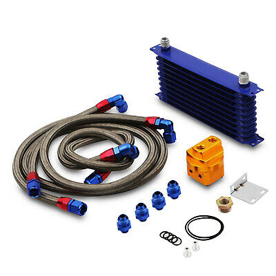 Universal Aluminium Alloy 10 Row An10 Blue Engine Oil Cooler & Relocation Kit