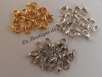 LOT 50 FERMOIRS MOUSQUETONS METAL ARGENTE OU DORE 12 mm CREATION BIJOUX PERLES