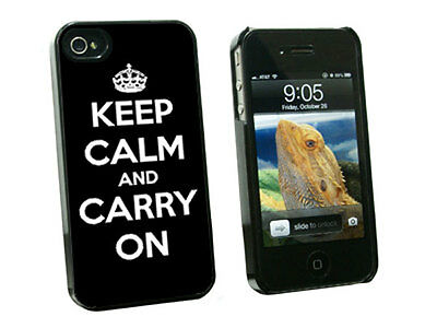 Keep Calm and Carry On Black - Hard Case for Apple iPhone 4 4S - Black