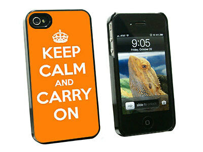 Keep Calm and Carry On Orange - Hard Case for Apple iPhone 4 4S - Black