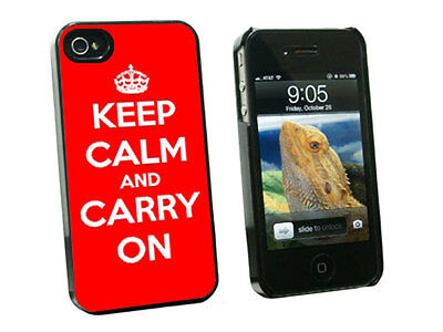 Keep Calm and Carry On Red - Hard Protective Case for Apple iPhone 4 4S - Black