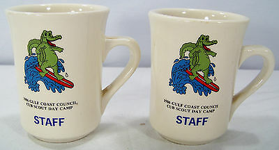 lot 2 BSA/Boy Scouts of America MUGS 1986 Gulf Coast Council Cub Day Camp Staff