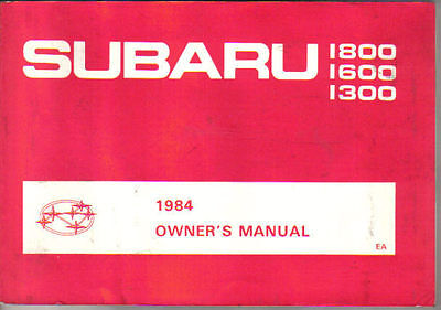 Subaru 1300 1600 1800 1983-84 Original Owners Manual (Handbook)