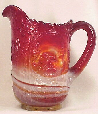 Windmill Ruby Slag Pressed Glass Pitcher Imperial Elegant A VINTAGE BEAUTY
