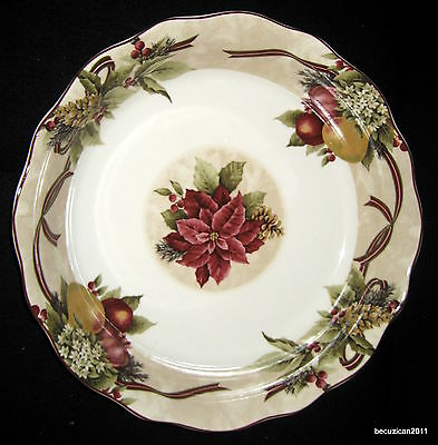 222 Fifth YULETIDE CELEBRATION Christmas Poinsettia Fruit Large Serving Bowl