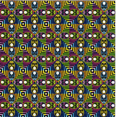 FOUR HEADS perforated sheet BLOTTER ART psychedelic LSD Acid Art paper sheet tab