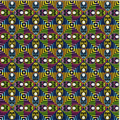 FOUR HEADS perforated sheet BLOTTER ART psychedelic