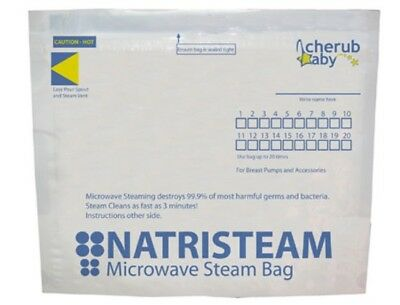 New Cherub Baby Natristeam Microwave Steam Bags Reusable Feeding Steriliser 6 Pk