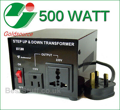 Goldsource 500 Watt Step Up & Step Down Voltage Converter Transformer UK->US->UK