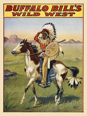 Buffalo Bill's Wild West Show - Indian on Horseback Poster 1912 - 24x32