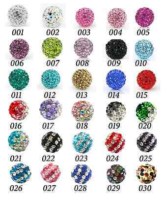 10Pcs X 8Mm Crystal Clay Round Beads Used To Make Shamballa Style Bracelet
