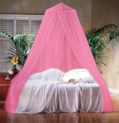 Pink Mosquito Net Fly Insect Protection Single Entry Double King Size Canopy UK