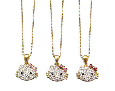 SMALL HELLO KITTY PENDANT CHARM NECKLACE PINK RED CRYSTAL GOLD TONE