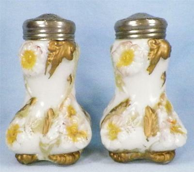 Antique Flower Blooming Wild Rose Milk Glass Salt & Pepper Shakers Orig Lids VG