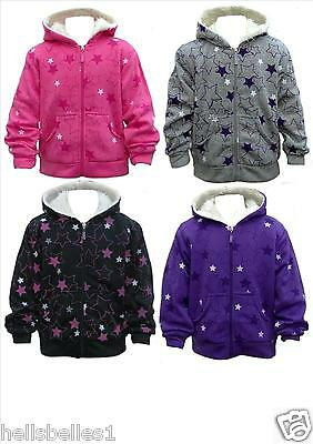 Girls Fur Lined Thick Star Patterned Hoody Zipper Jacket 3 4 5 6 7 8 9 10 11 12Y
