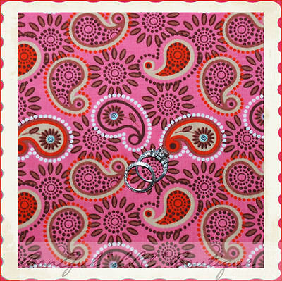 BonEful Fabric FQ Cotton Quilt VTG Pink Brown Paisley Daisy Flower Dot Red White