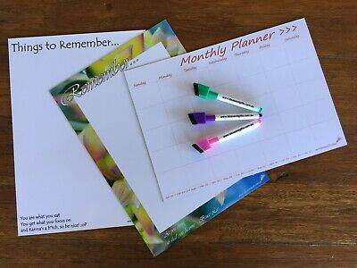 3x A4 Family Office Weekly Monthly Planner Whiteboard Fridge Magnetic Organiser