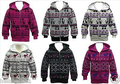 Girls Cats&deers Patterned Fleece Lined Hoody Zipper Top 3 4 5 6 7 8 9 10 11 12Y