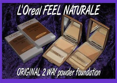 L'Oreal FEEL NATURALE 2 way ORIGINAL RARE powder Foundation LIGHT or AMBER BEIGE