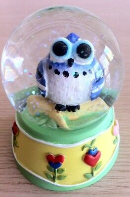Yellow and Green Resin Base with Blue Owl Snowglobe/Snow/Globe/Waterball