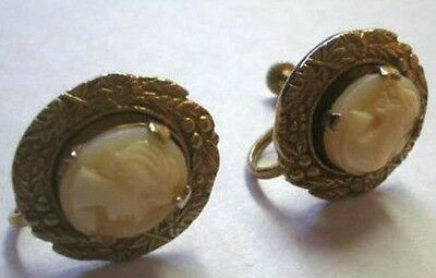 Vintage carved CAMEO Art Nouveau Brass Victorian Style Earrings Screw back