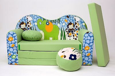 Kids Sofa Bed 3 In 1 Futon Childs Furniture + Free Pouffe / Footstool & Pillow