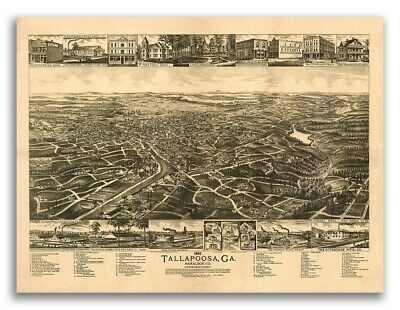 Tallapoosa Georgia 1892 Historic Panoramic Town Map - 24x32