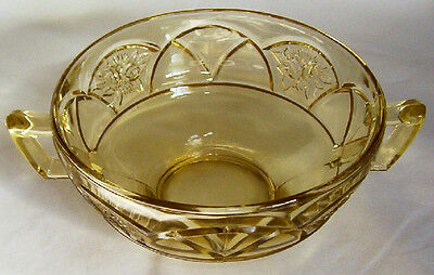 FEDERAL GLASS CO. ROSEMARY DUTCH ROSE AMBER TWO-HANDLED CREAM SOUP BOWL!