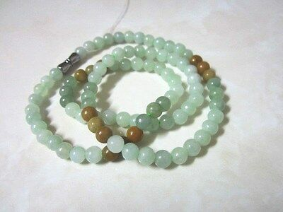 Stunning Natural Light Green & brown Jadeite Necklace, A - Type (A12119-2)