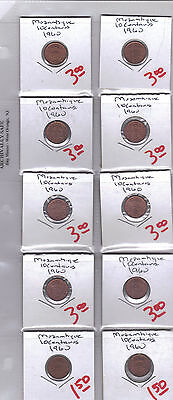From Show Inv. - 10 NICE 10 CENTAVO COINS from MOZAMBIQUE (ALL DATING 1960)