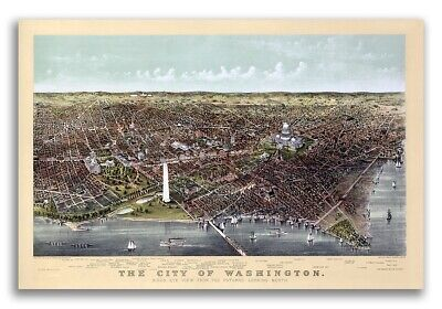 1892 Washington DC Vintage Old Panoramic City Map - 16x24