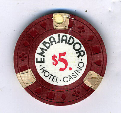 Old 5 Dollar Poker Chip from the Embajador Casino Dominican Republic