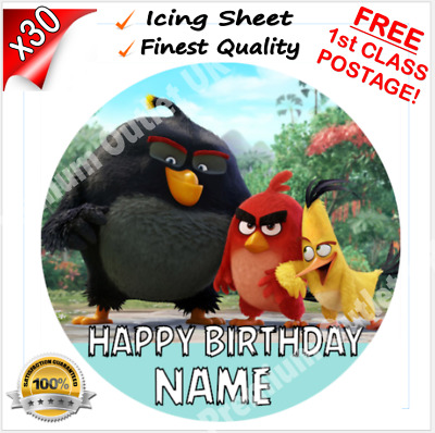 """ANGRY BIRDS Edible Icing Cake Topper 7.5"""" Round Pre-cut FIRST CLASS POST!"""