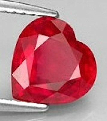 AAA Rated Heart Faceted Bright Red Lab Created Ruby (4x4-14x14mm)