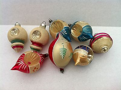 VINTAGE CHRISTMAS ORNAMENT LOT OF 8 HANDBLOWN PAINTED  BUTTERFLY TREES
