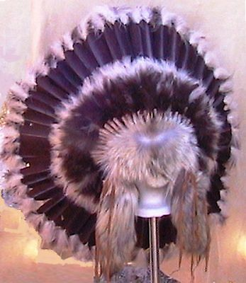 "Genuine Native American Navajo 36"" Indian Headdress ""BROWN PRAIRIE TRADITIONAL"""