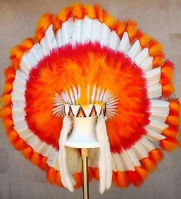 "Genuine Native American Navajo 36"" Indian Headdress WHITE FIREBALL Yellow Orange"