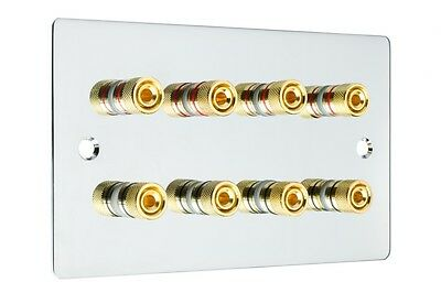 Polished Chrome 4.0 Surround Sound Audio Speaker Wall Plate Gold Binding Posts
